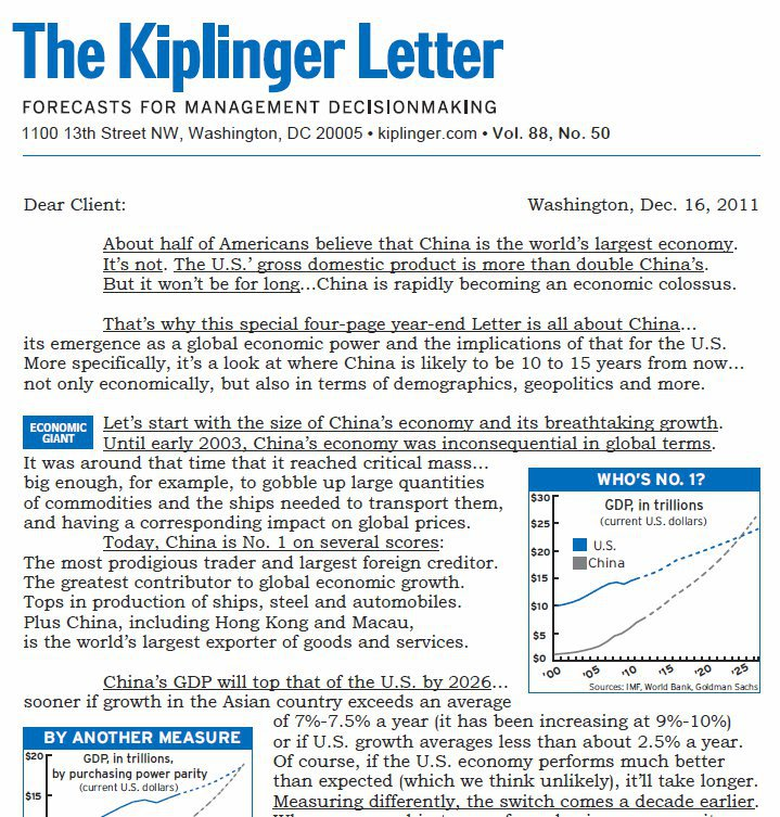 So begins The Kiplinger Letter special report on China -- its economic